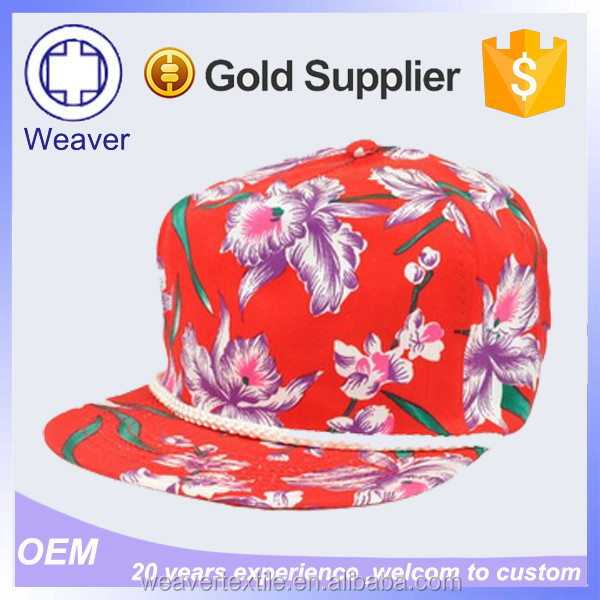 2015 Custom Flexfit Hawaii Floral Printing Snpaback Cap With String