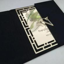 Monogram Embellished Elegant Black Velvet Wedding Invitation Cards with Laser Cut Gold Mirror Acrylic Wedding Invitations