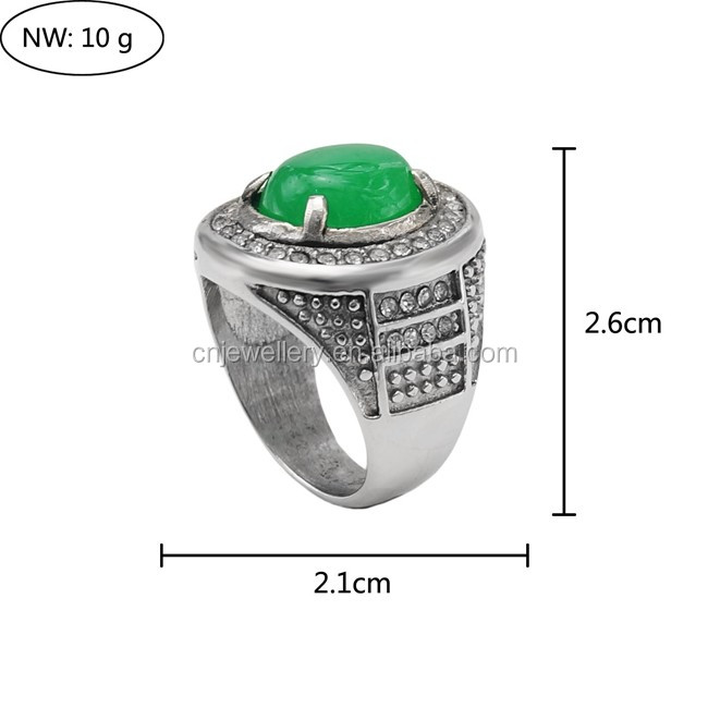 2017 Factory custom made high quality men 316l stainless steel rings with natural stone