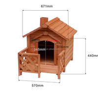 Hot sell large waterproof fence wooden dog kennel with veranda