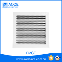 Aluminium ventilation grille with fixed core, PMGF Perforated Metal diffuser and air return grille