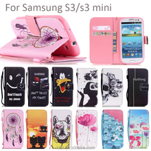 Pink Flower Lovely Pu Lether Flip Wallet Case For Samsung Galaxy S3 S3 mini Phone Cover
