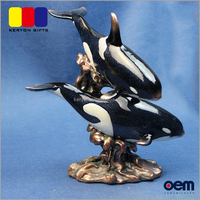 Polyresin Two Killer Whale Together Figurines Life Size Resin Animals