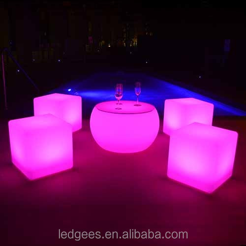 Glowing cube seatComfortable multicolor furnishing-small seat and table LED cube