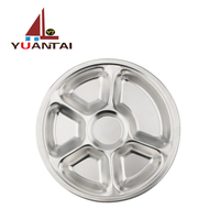 hot selling 5/6 compartments stainless steel round shape dinner plates fast food serving tray/Snake Plate/Dishes
