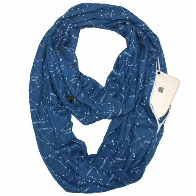 Stellar map print Travel Infinity <strong>Scarf</strong> With Hidden Zipper Pocket light weight Soft Constellation <strong>scarf</strong>