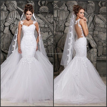 2015 New Royal Mermaid Wedding Dress with Lace and Removeable Brush Train Elegant Free Shipping High Quality Wedding Dress