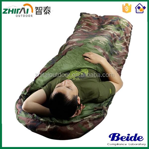 170T Ultralight Envelope Hooded Outdoor Travel Camping Nylon Water-resistant Camouflage Military Camo Sleeping Bag