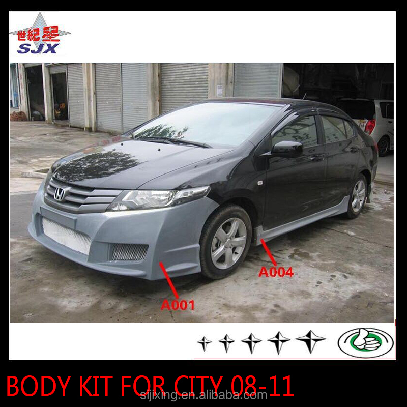 Body kit for city 09-11 style C front bumper/rear lip spoiler/side skirts/window visor