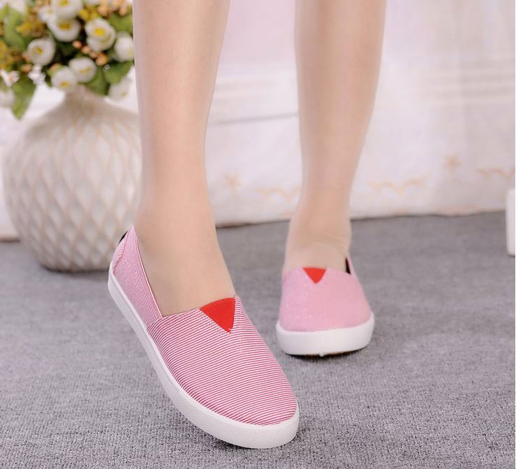 New design women's walking shoes stripe flat casual canvas shoes