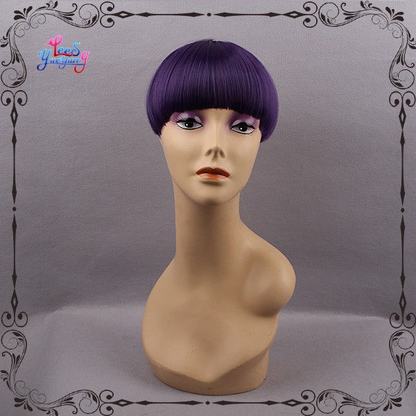 Hip dark purple silk straight full bangs for cute girls