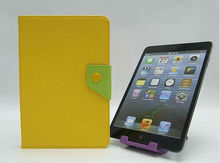 Yellow Lime Green PU Leather Flip Stand Case Cover Pouch for iPad Mini