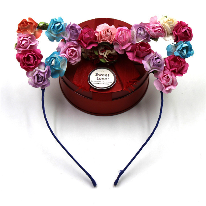 Cute Colorful Cat Ear Hair band Paper Flower Metal Headband Crown For Festival