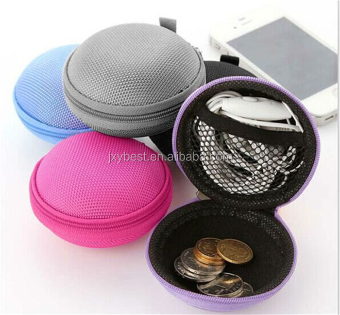 China Factory OEM Portable Small Round EVA Hard Case for earphone for cables for Chargers for Coins for SD Cards