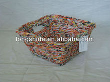 Handmade recycled woven newspaper basket for storage