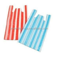 1000 x HD Vest Plastic Carrier Red & White Strip Bags (9 micron) 10 x 38cm x 46cm (Free P & P on all products)