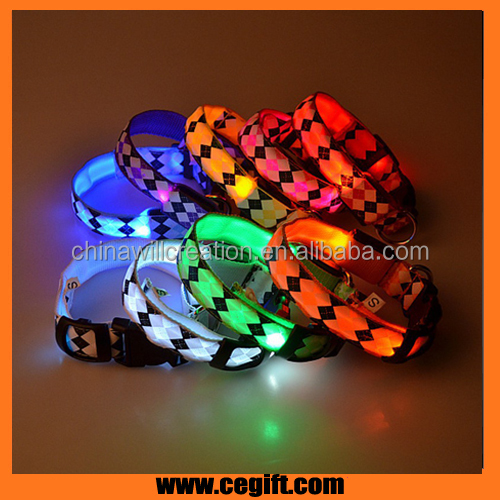 NEW DESIGN dog training collar,flashing dog collar of diamond pattern