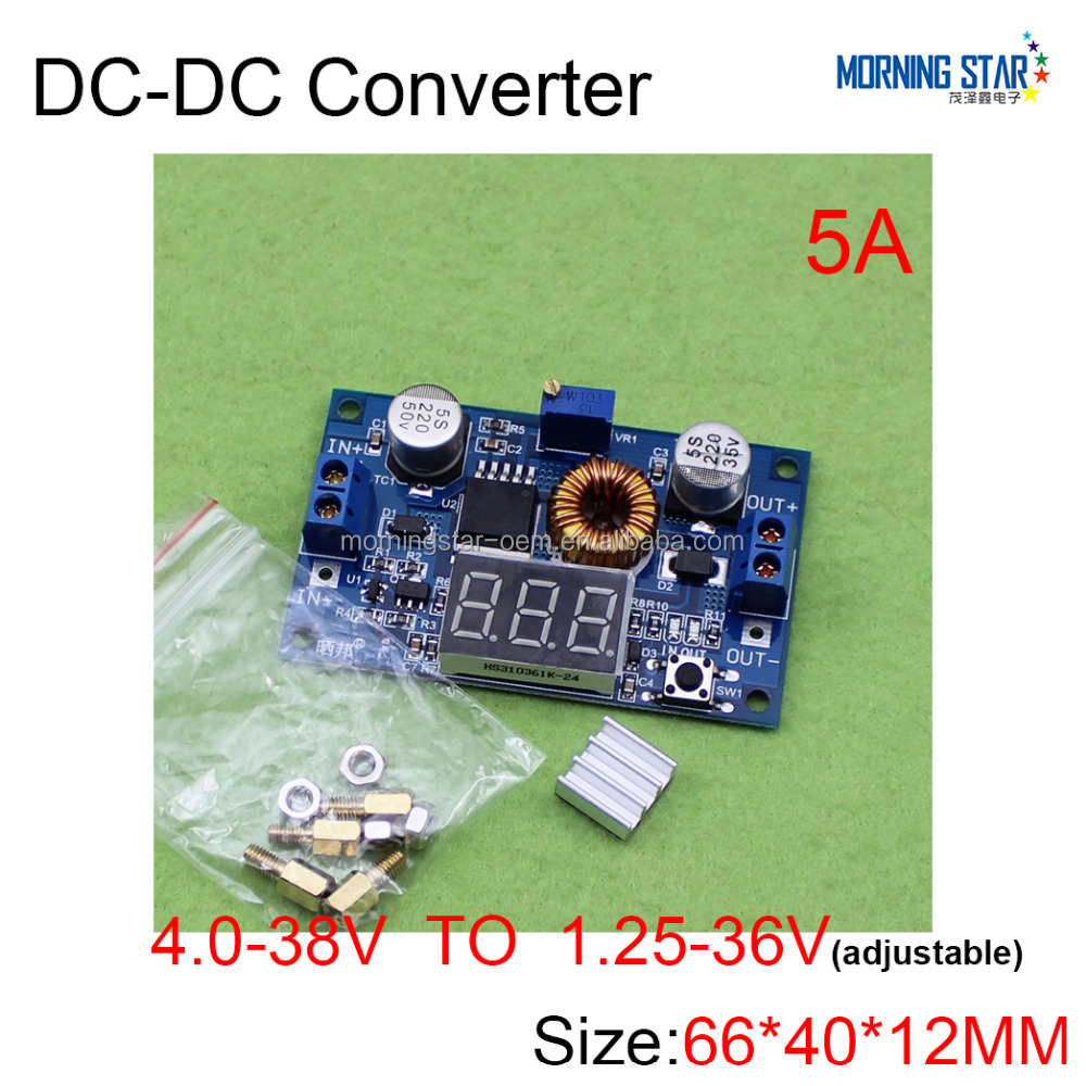 12V 24V 36V turn 3.3V 5V 12V 24V XL4015E 5A 75W adjustable DC to DC step down buck converter Inverter with voltage LED display