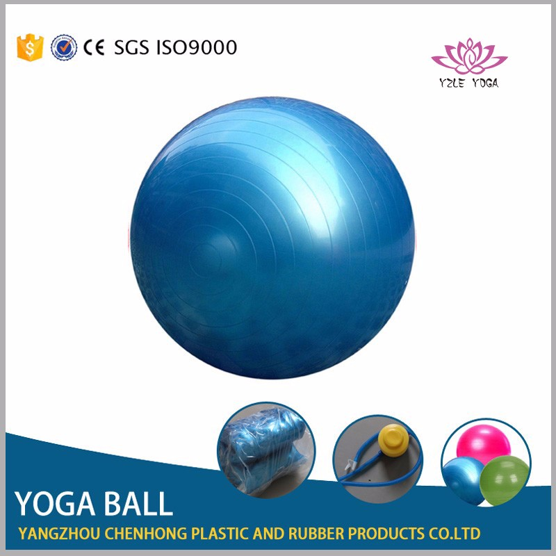 plastic pvc ball, yoga massage balls, gym ball with foot pump in blue