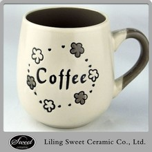 New arrival hand-painted eco-friendly stoneware ball shape full coffee color design ceramic cafe cup with color handle