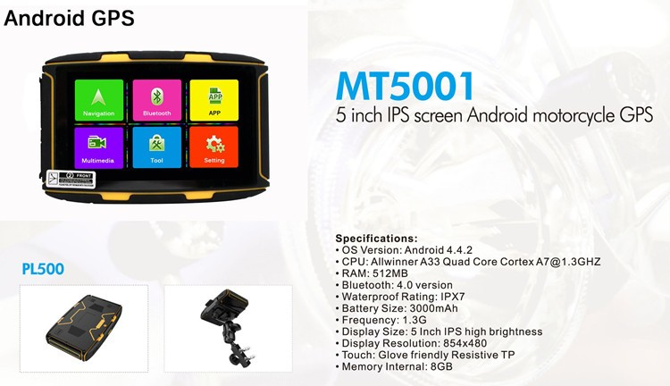 2017 Newest 5 inch Android Waterproof GPS MT-5001 Prolech Navigator WiFi BT FM Play Store for Car and Motorcycle