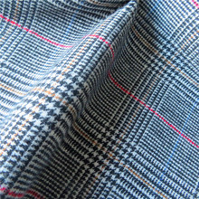 Hign quality fashion red yellow blue line tweed heavy wool fabric