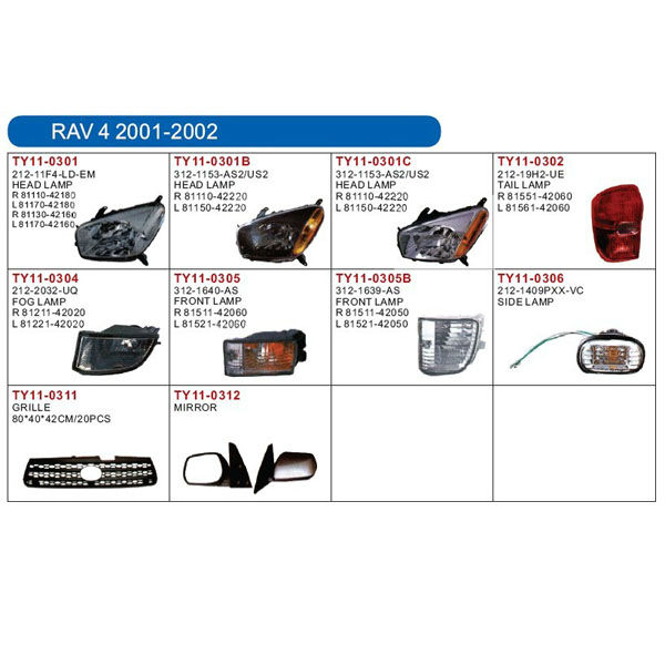 auto lamp and body parts for TOYOTA RAV4 2001