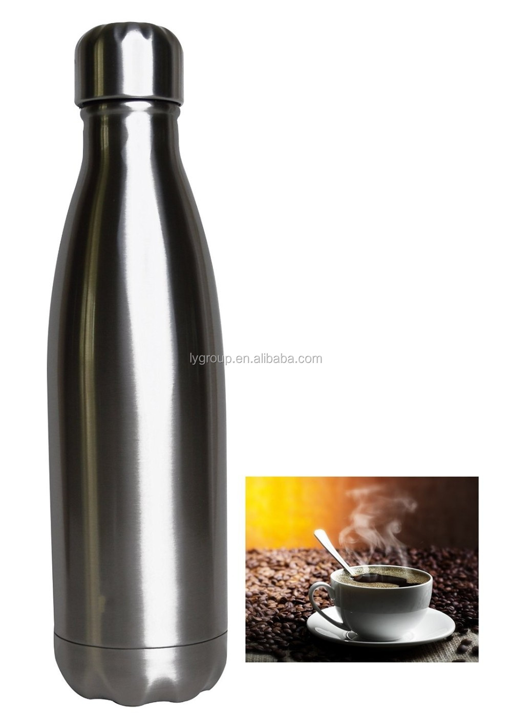 FDA BPA free cola bottle thermos vacuum 18 8 stainless steel heat resist mug , travel water botter ,home cup 17 oz /510ml