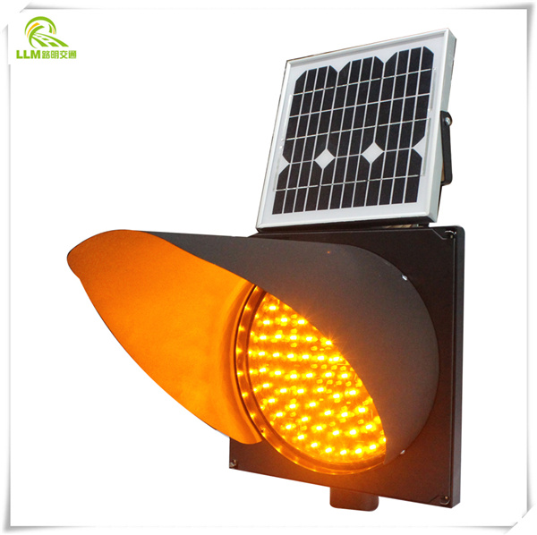 Solar wireless 180 degree revolving yellow LED flashing traffic signal warning light