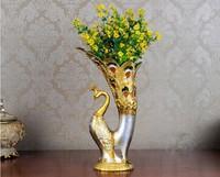 Xmas Handmade Art Home Wedding Deco Sculpture Statue Figure Peacock Vase