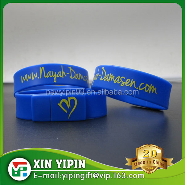 Custom design cheap full capacity silicone bracelet USB flash driver