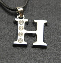personality crystal 26 English letters necklace titanium steel jewelry necklace couples pendant