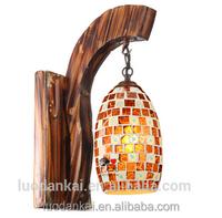 2017 rustic single buld wall mounted lamp wood fancy wall light