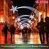 Customize commercial cross Street LED Christmas shooting star decoration