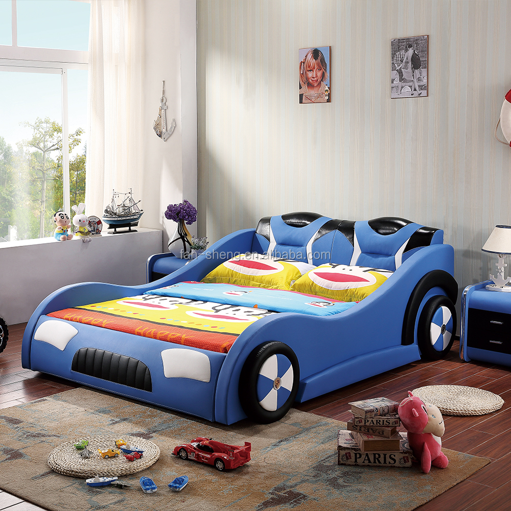 Blue car beds for kids - Pu Kids Children Race Car Bed