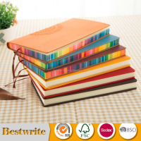 Promotional PU Leather Cover Color Edge Notebook
