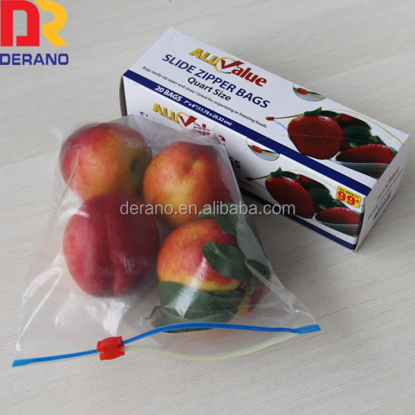 Reusable plastic zipper packing bag with white block printing