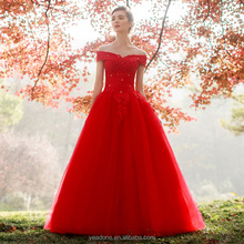 OEM Service Red Appliqued Lace Wedding Dress Off Shoulder Boat Neck Bridal Gown