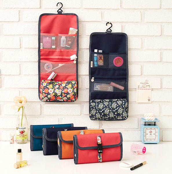 Travel Hanging Toiletry Kits Waterproof Floral Cosmetic Bag Triple Foldable Toiletry Bag