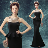 Long Black Mermaid Dress Evening Party Wear Halter Neck Evening Dress Black for Women