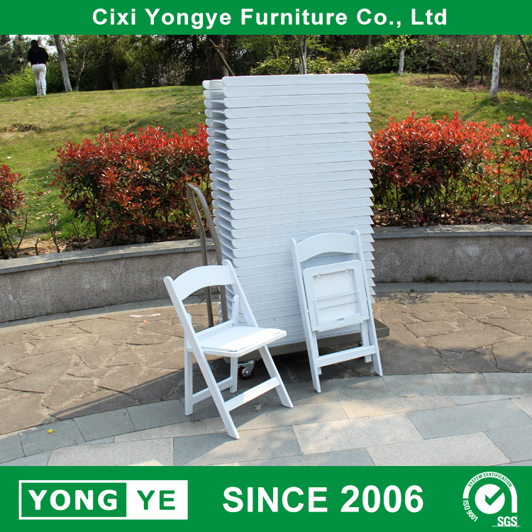 White resin fold out event chairs