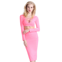 Pink 2 Piece Set Dress Patterns New Open Breast Women Bodycon Dresses Vestidos Casaul Sexy Club Midi Women Clothing