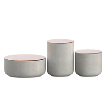 Natural cement color concrete airtight canister with copper lids / glass / stainless lids