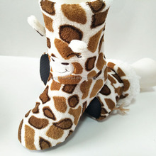 animal design leopard print winter warm cotton lined indoor sock boots