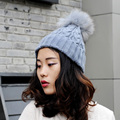 CX-C-74C Real Wool Hat Women Hand Knitted Raccoon Fur Pom Pom Hat