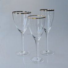 Gold silver rim wine glass set customized size factory promotion for Dubai hotel luxury club supplier