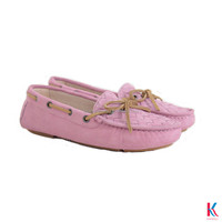 Sexy pink cow suede upper plus cow leather bow flat shoes for ladies