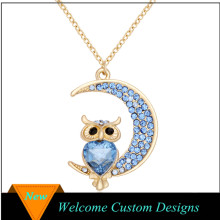 Latest Design Fashion Gold Blue Crystal Owl Necklace With Moon Pendant