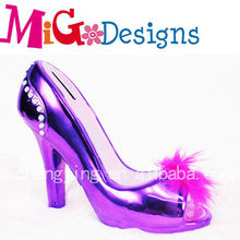 Electroplate Dark Purple High Heel Shoes Best Seller Piggy Coin Bank