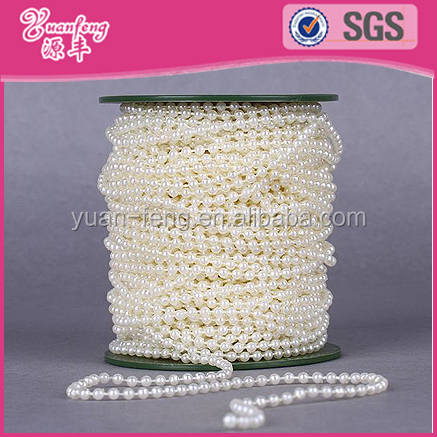 Fixed Line 6mm Round Cream Pearl Beads Chain